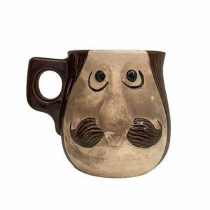 Vintage Moustache Ceramic Brown Shaving Cup Mug